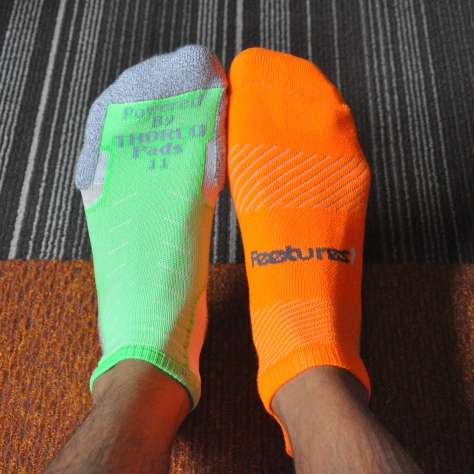 New Thorlos in green, Feetures in Orange.