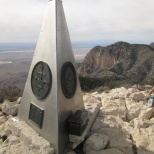 The monument at the peak. The metal case has a book to sign.